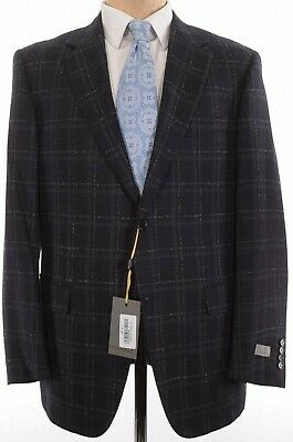 Canali NWT Sport Coat Size 46R In Black & Gray Plaid Wool Current $1,495