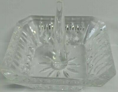 Crystal Ring Holder Dish Vanity Jewelry Cut Glass GUC Square Shape