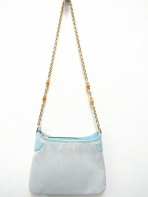 Gucci Baby Blue GG Logo Canvas Leather Monogram Shoulder Bag Purse Gold Chain