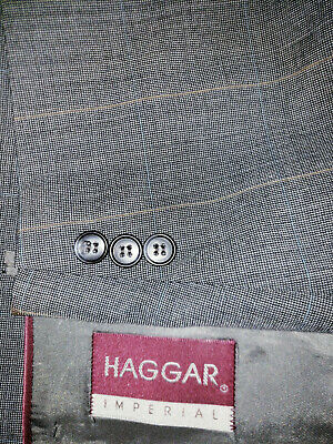 Mens Size 50R 42x30 Pleated Pants Haggar Gray Brushed Windowpane Two Piece Suit