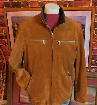 Banana Republic Mens Moto Bomber Jacket Size XL Brown Suede Leather $499