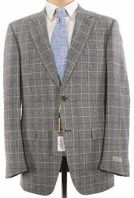 Canali NWT Sport Coat Size 44L In Light Gray & Black Plaid Wool Current $1,695
