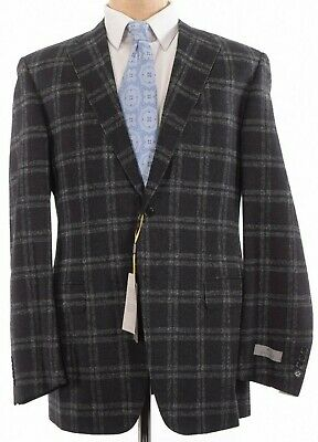 Canali NWT Sport Coat Size 42L In Black With Light Gray Plaid Wool Blend $1,495