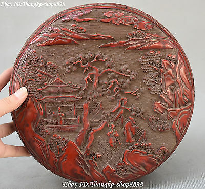 """9"""" Chinese Wood Lacquerware Pine Tree Old Man People Pavilion Storage Box Boxes"""