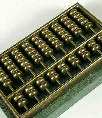 Vintage Miniature Abacus Counting Beads Brass Stone