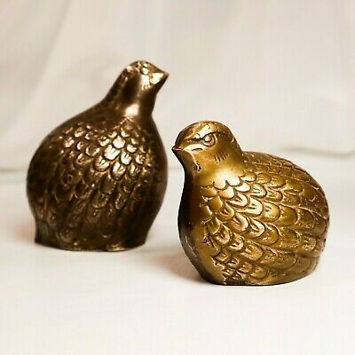 Vintage Solid Brass Quails Partridge Game Bird Figures Paperweights Lot