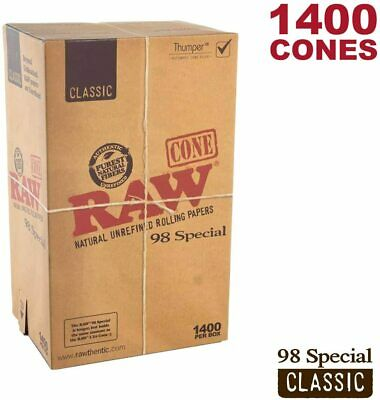 RAW 1400 Classic 98 Special Cones - Natural Brown Unrefined Rolling Papers
