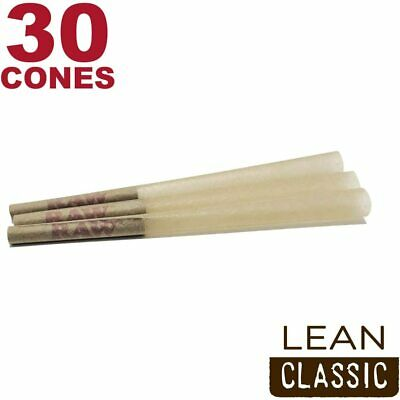 RAW 30 Classic Lean Hemp Cones - Natural Brown Unbleached Rolling Papers