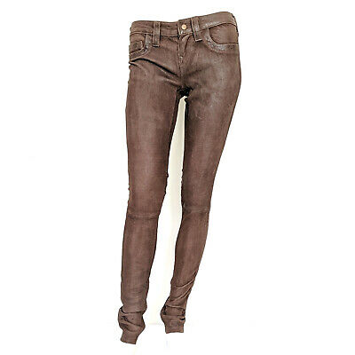 True Religion Womens Brown Low Rise Skinny Leather Suede Pants Jeans Size 28 NEW