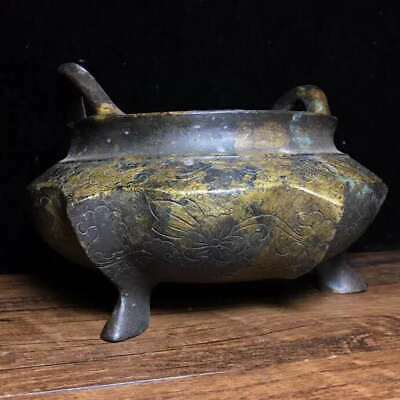 """5.1"""" Collect Chinese Qing Dynasty Pure Bronze Six Edges Tripodia Incense Burner"""