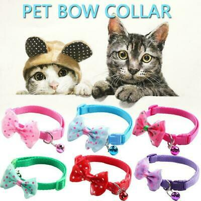 Adjustable Reflective Nylon Cat Safety Collar with For Kitten Supplies Bell F1M3