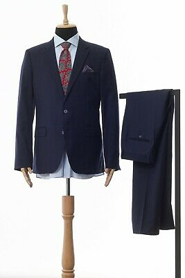 Mens TOMMY HILFIGER Suit Wool Two Button Blazer Trousers Navy Blue Size 40 50