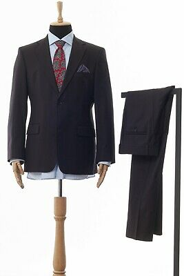 Mens HUGO BOSS Suit Wool Two Button Blazer Trousers Dark Brown Size 40 50