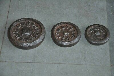 3 Pc Old Iron Handcrafted Indore Estate Mercantile Measuring Weights