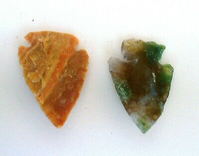 Two Stone Age Ancient Neolithic Flint Stone Arrowheads