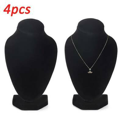 4Pcs Jewellery Necklace Chain Display Pendant Bust Velvet Holder Show Stand