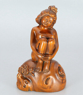 Chinese Exquisite Handmade beauty carving Boxwood statue