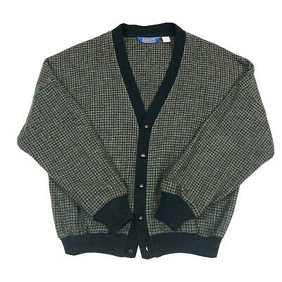 Vintage Pendleton Mens Size XL 100% Wool Houndstooth Navy Blue Cardigan Sweater