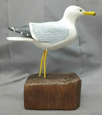 Vintage Hand Carved Wooden Seagull Ring Bill Gull Seabird Figure Wood Carving