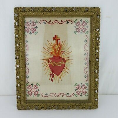Antique Sacred Heart of Jesus Embroidery Needlepoint Victorian Era in Frame Rare