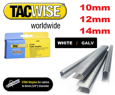 TACWISE   CT60  CABLE TACKER STAPLES  10mm - 14mm WHITE / GALVANISED BOX OF 1000