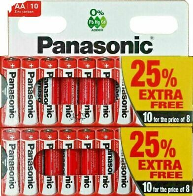 10 x AA Genuine PANASONIC Zinc Carbon Batteries - New R6 1.5V Expiry 2022