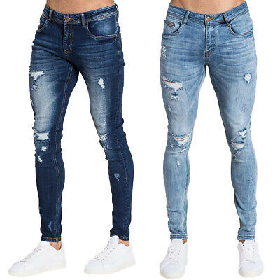 Mens Ripped Stretch Skinny Jeans Distressed Frayed Casual Slim Fit Denim Pants