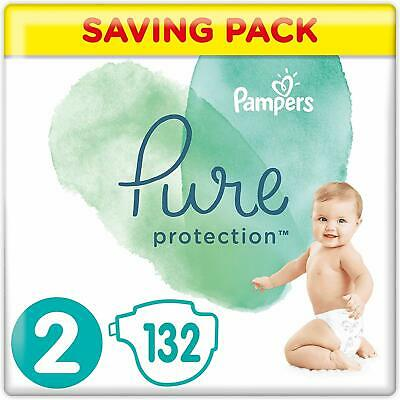 Pampers Pure Protection Size 2, 132 Nappies, 4-8 kg, Saving Pack Premium Cotton