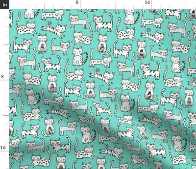 Cat Hipster Leggings Black White Cute Animals Fabric Printed by Spoonflower BTY