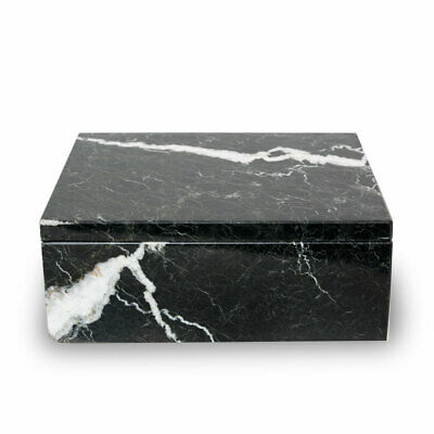 Box Marble Cremation Urn for Ashes - Extra Small  Black