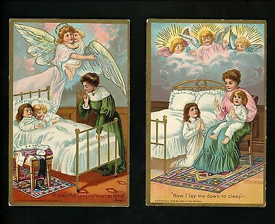 Religious postcard SET OF 4 Lay Me Down to Sleep Prayer 1909 Holdbrook Angel
