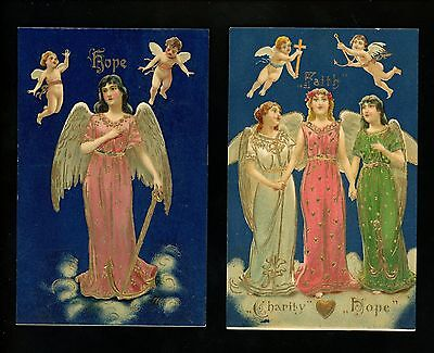 Religious postcard SET OF 4 Faith Hope Charity Series Gold Trim embossed Angels
