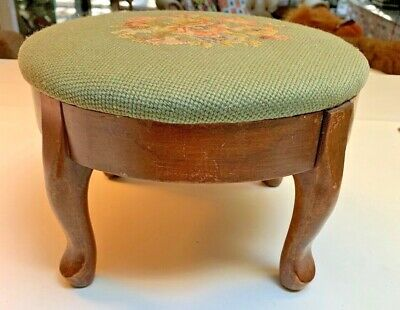 Antique Floral hand needle~point~PETIT~point Maple Wood Foot stool