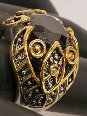 Distinctive Design Medieval 18K GE Silver Gold Filigree Black Stone Size 6