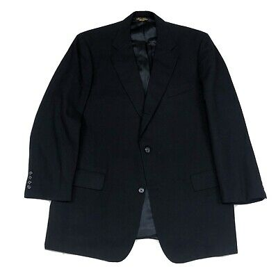 Brooks Brothers Mens Size 46L Navy Blue Wool 3/2 Roll Blazer Jacket Brookease
