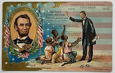 Old Embossed Postcard Abraham Lincoln Freeing Slaves Emancipation Centennial