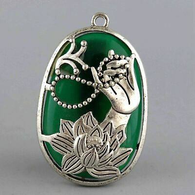 Collectable Old Miao Silver Armour Amber Carve Buddha Hand & Lotus Lucky Pendant