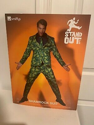 NWT Smiffy's Stand Out Men's Shamrock Suit Adult  Size Large Jacket Pants & Tie