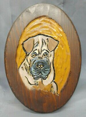 Old Vintage Hand Carved Folk Art Wooden Dog Wall Plaque