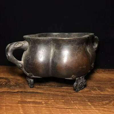 """9.4"""" Collect Chinese Ming Dynasty Xuande Pure Bronze Plum Blossom Incense Burner"""