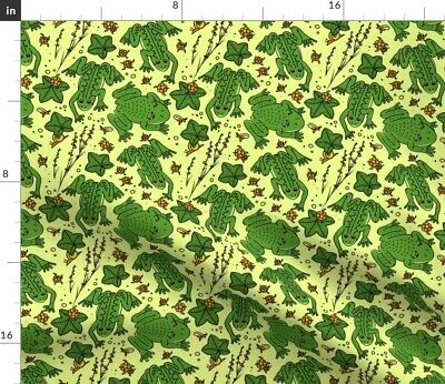 Frog Green Amphibian Cute Animal Toad Fabric Printed by Spoonflower BTY