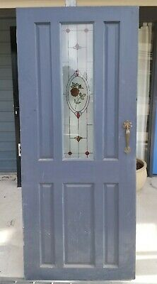 Solid timber front door with stained glass 1915 mm (h) x 815 mm (w)
