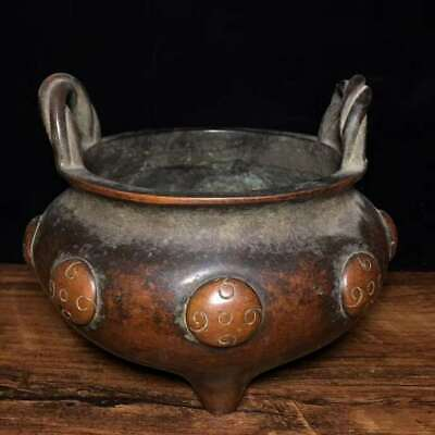 """5.1"""" Collect Chinese Ming Dynasty Xuande Pure Bronze Rope Ear Incense Burner"""