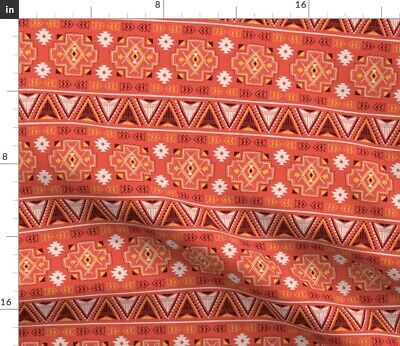 Tribal Native Aztec Ethnic Indian Red Geometry Fabric Printed by Spoonflower BTY