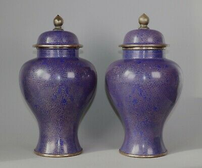 Antique Chinese Cloisonne Vases Pair of 19th Century Blue Enamel Gilt Bronze Urn