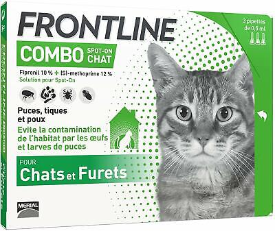 FRONTLINE Combo Chat Anti-puces & anti-tiques pour chat 3 pipettes soins animal