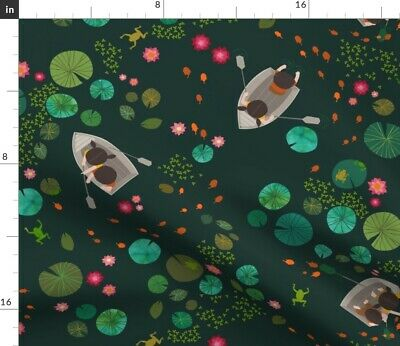 Lotus Pond Lilies Lilypad Frog Boat Boating Fabric Printed by Spoonflower BTY