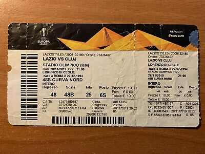 Biglietto Stadio Ticket Lazio-Cluj Europa League 2019/'20