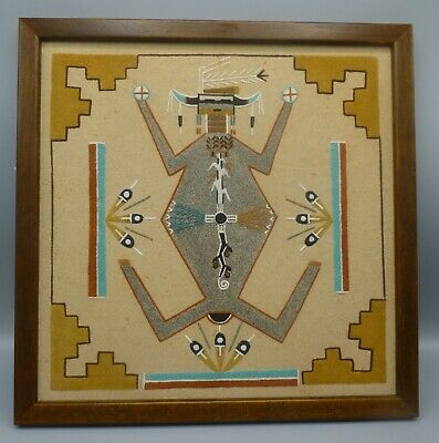 Rare Authentic Navajo Native American Indian Sand Painting Mother Earth Framed