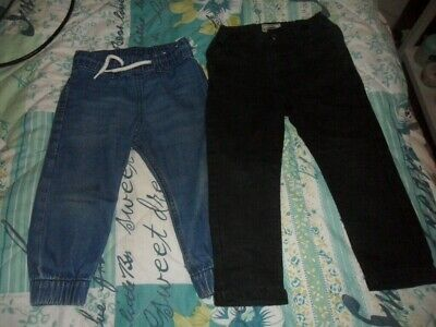 next black ripped knee and H&M blue jogger style 18-24 month jeans x 2